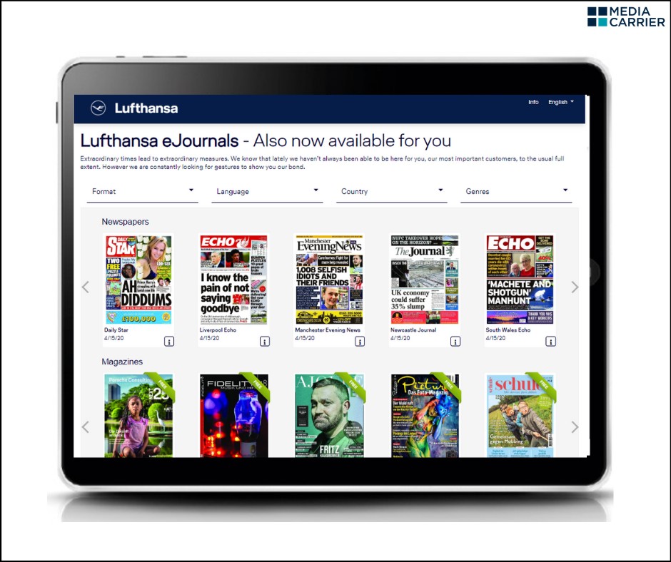 Lufthansa and Media Carrier brings the eJournals into your living-rooms